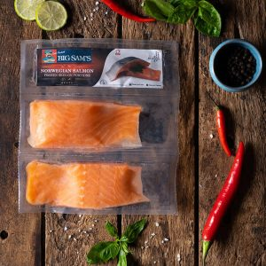 Big Sam's Norwegian Salmon Skin-On Portions- Double Pack- 125g x 2